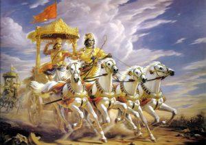 -1200 г. до н.э. Кришна участвует в битве на Курукшетре как возничий колесницы царевича-лучника Арджуны