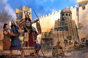 -575 г. до н.э. Тирцы (финикийцы) сдались Навуходоносору II после 13-летней осады
