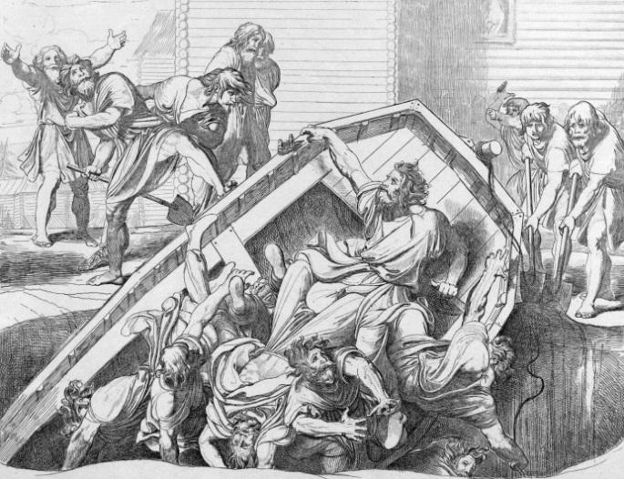 946 г. Ольга победила древлян, сожгла Искоростень и установила тяжелую дань с древлян