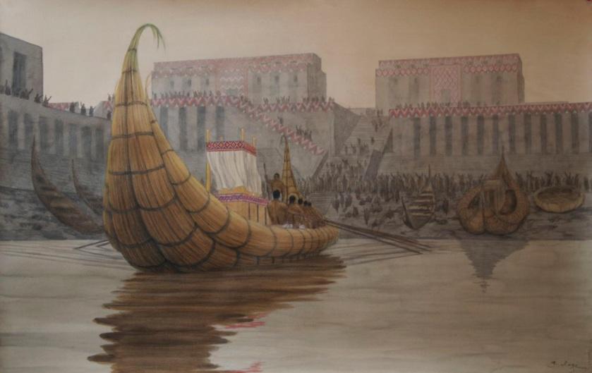 -2900 г. до н.э. Зиушудра узнает от богов о потопе и спасается на лодке