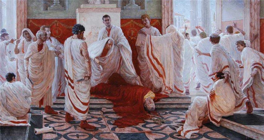 -44 г. до н. э. Гай Юлий Цезарь обожествлен в Римской республике и убит