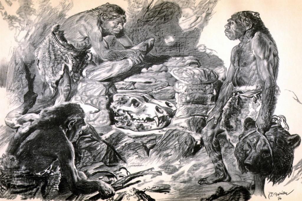 -100 000 лет до н.э. Неандертальцы имели религию, связанную с культом пещерного медведя