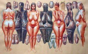 -30 000 г. до н.э. Кроманьонец владел женской головой из бивня мамонта и обожженной глиняной палеолитической венерой
