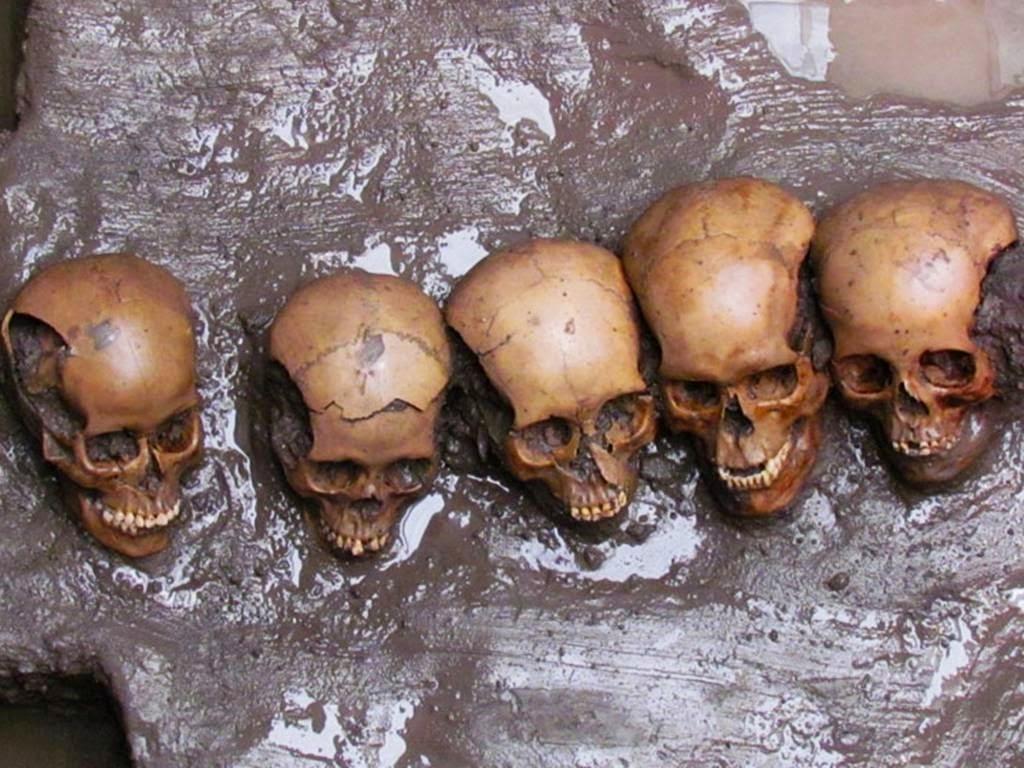 -5000 г. до н.э. Люди принесли в жертву женщин и детей ударом деревянного молота в висок