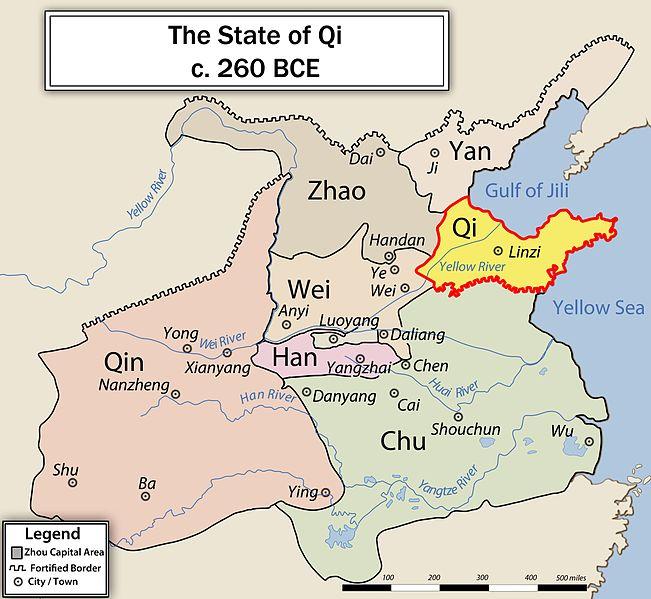 -645 г. до н.э. Гуань Чжун, премьер-министр Ци, основатель легизма, сделал государство Ци самым могущественным в Китае