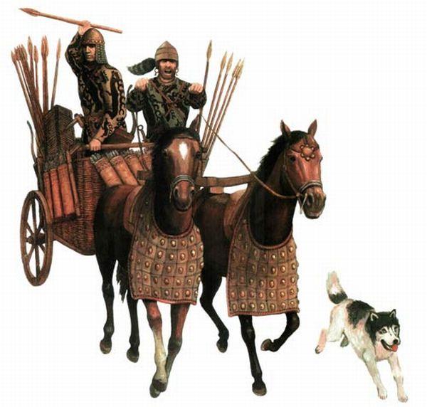 -2026 г. (до.н.э.) Боевая колесница использовалась индоариями в Синташте
